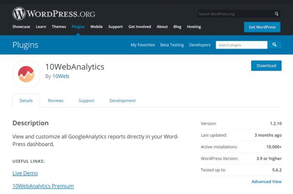 10webanalytics wordpress plugin