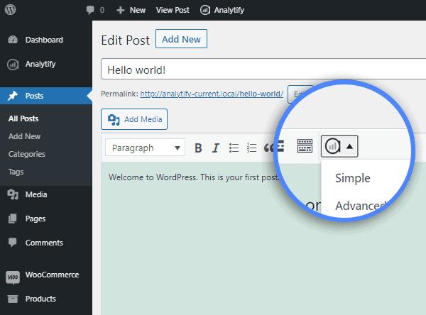 analytify wordpress dashboard