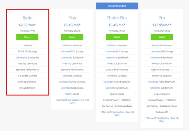 bluehost basic plan pricing