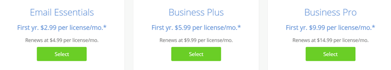 bluehost email hosting pricing