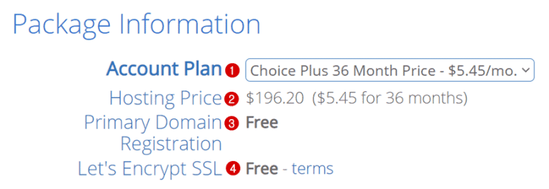 bluehost hosting plan