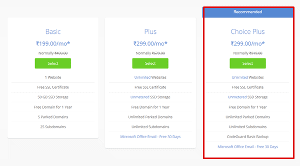 bluehost india pricing