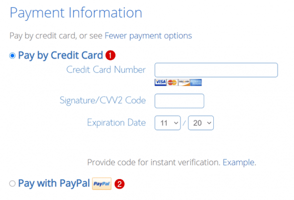 bluehost payment method