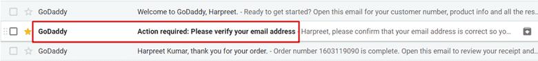 godaddy email verification
