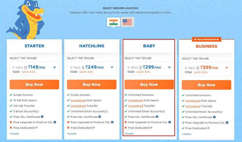 hostgator india plan pricing