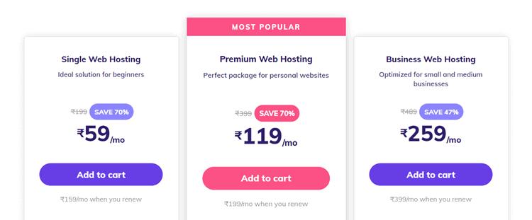 hostinger india pricing