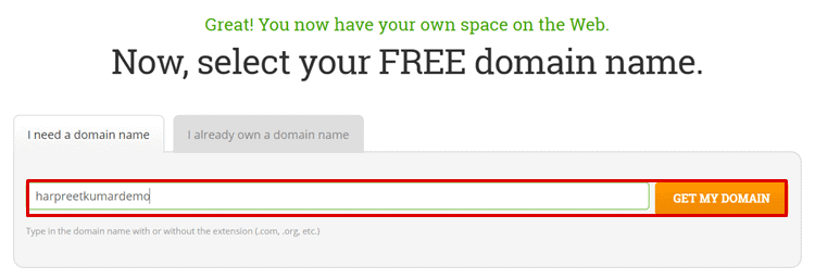 hostpapa free domain