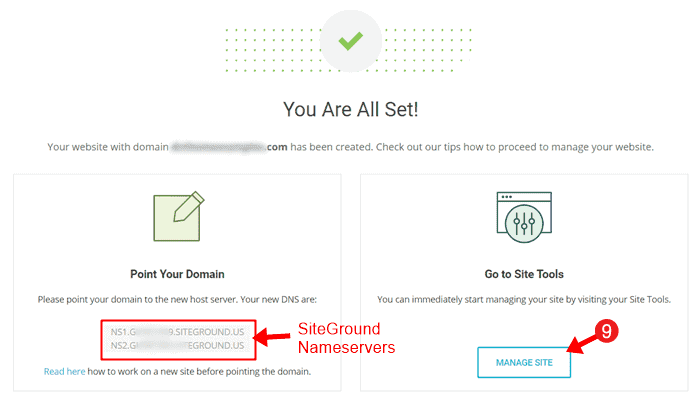 point domain name to siteground