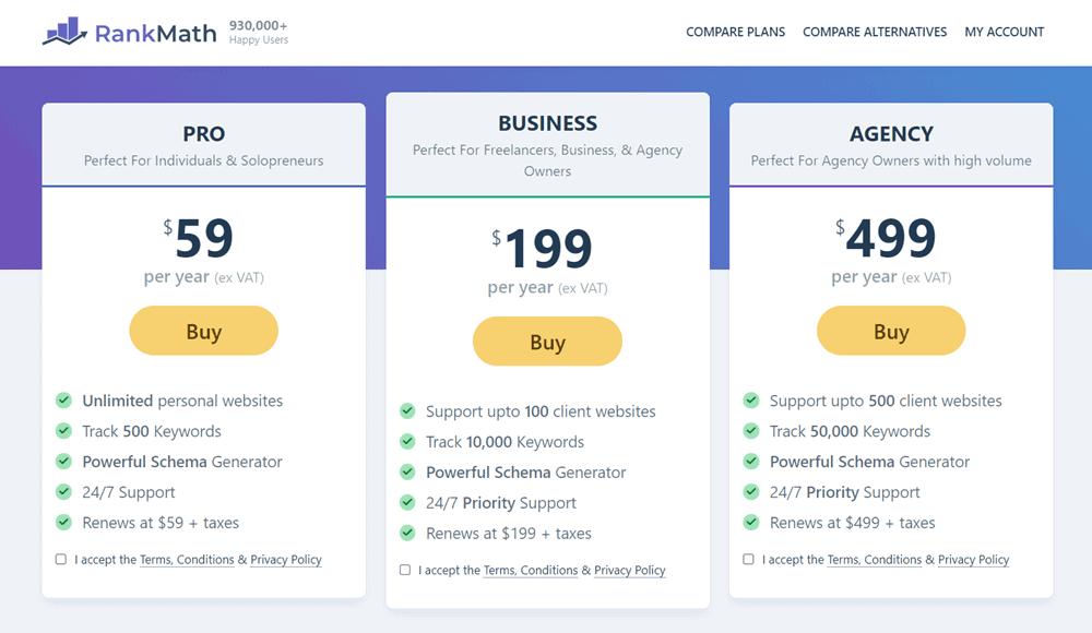 rank math black friday pro pricing