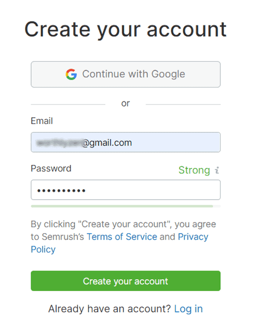 semrush account
