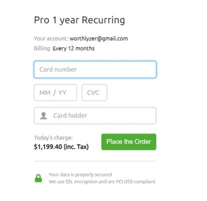 semrush credit card details