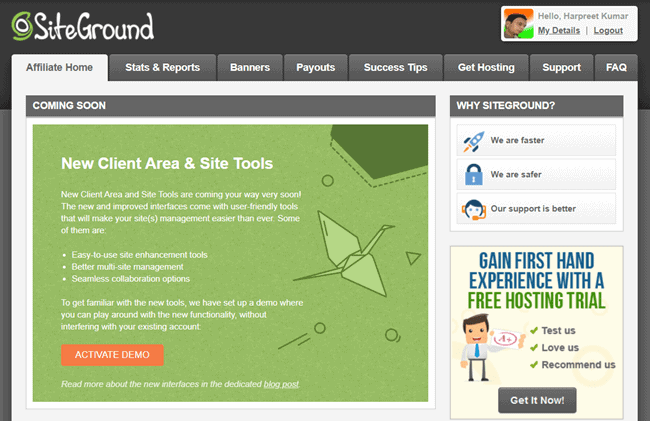 siteground affiliate dashboard