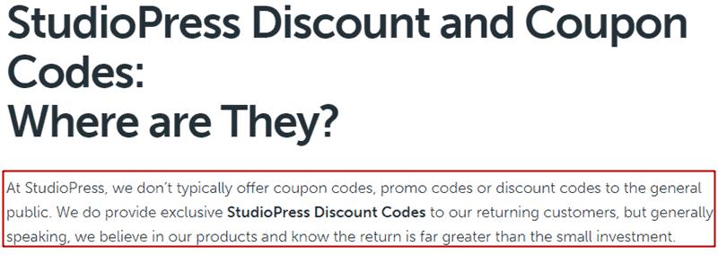 studiopress coupon