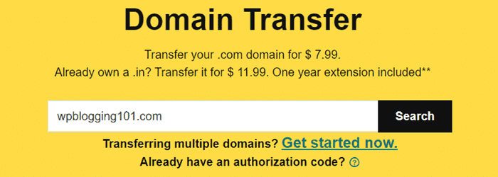 transfer domain from bigrock to godaddy