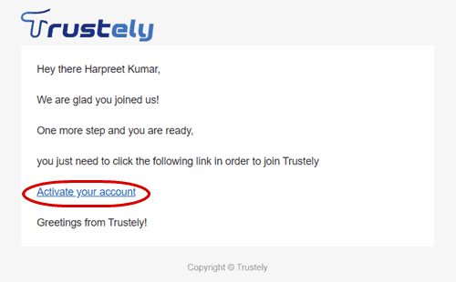 trustely account activation