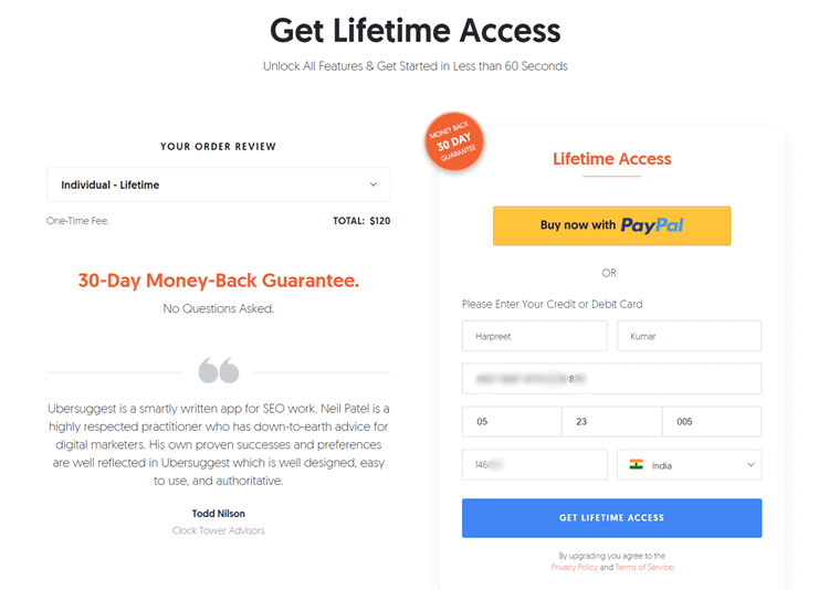 ubersuggest lifetime access