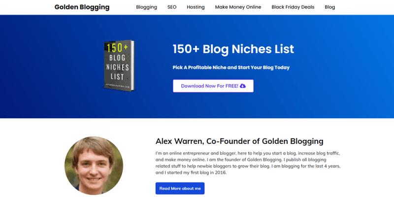 website examples golden blogging