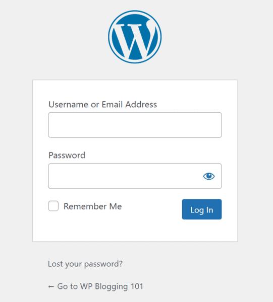 wordpress admin dashboard login