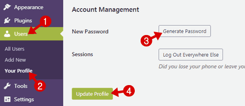 wordpress change password
